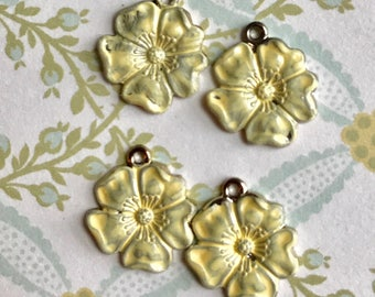 Yellow Vintage flower Charms,Enamel Flower charms,flower Drops,yellow flower charms,enameled flowers, Rose Charms, Drops Dangles #1577G