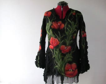 Nuno felted dress  Red Poppy tunic , black women tunic ,  silk wool felted dress, women black dress long sleeves dress felted tunic