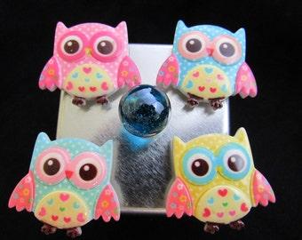 Fridge Magnets, Free Shipping, Kawaii Owl magnet set, cute fridge magnet set, strong magnets, fridge magnets, neodymium magnet set 586-2