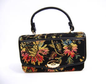 1960s Needlepoint Carpet Bag - Tapestry Handbag 60s Colorful Pink Yellow Green Blue and Black