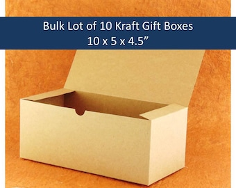 "Bulk Lot of 10 Kraft Gift Boxes 10"" x 5"" x 4.5"" for Groomsmen's Gifts, Wine Glass, Beer Glass Gift Box, Rustic Wedding Party Gifts"