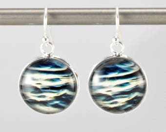 Ripples - Earrings -  Sterling Silver Ear Wires - Photography - Handmade - Unique Gift - Matching Bracelet Available -  Wearable Art!