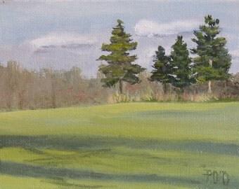 "Pine tree paintings, landscape paintings, small oil painting, winter landscape, 5"" x 7"" paintings"