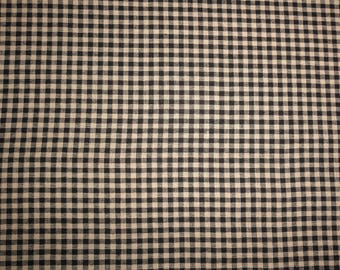 Black Check Homespun Fabric Quilting Sewing Primitive Country Home Decor Rag Quilts Wreaths Garlands Doll Making fabrics by the yard