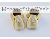 Moccs of the Week Gold Baby Moccasins Handmade Baby Moccs