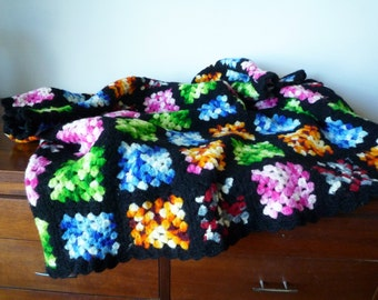 Vintage Granny Square Afghan, Vintage Crochet Throw Blanket 60s 70s, SALE