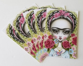 Pack of 5 Postcards-Frida and the Butterfly