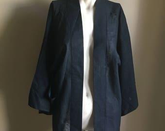 70s 60s Vintage Sheer Blue Japanese Kimono • Open Jacket Kimono