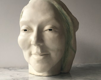 Ceramic Head Sculpture, Smiling Feels Better, Imaginary Portrait Garden Art Face Porcelain Bust