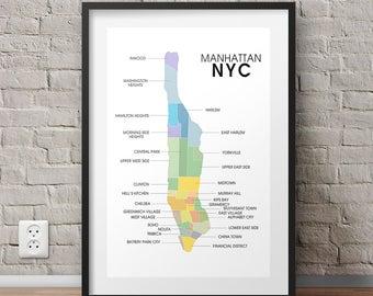 Manhattan Map Neighborhood Art Print, New York City Poster, NYC Map, Tribeca, Harlem, Midtown, Lower East Side, The Village, Home Decor