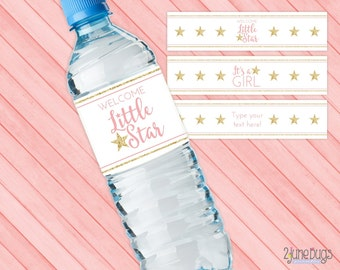 Star Baby Shower Water Bottle Labels, Pink & Gold Glitter Twinkle Twinkle Little Star Water Bottle Labels, 3 Designs 1 Editable - PRINTABLE