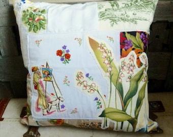 Springtime in Paris Collage, Applique Cushion Cover, Vintage Textiles, Linens, Shabby Chic, Cottage Chic, Hand Made, Original, Unique Ltd Ed