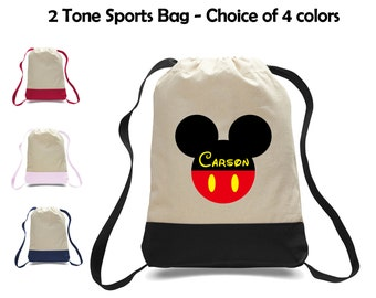 Personalized Mickey Mouse Two-Tone Canvas Sports Bag Backpack - Great for School, Preschool, Camp, Sports, Activities & More!