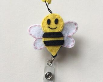 ID Badge Holder Retractable in Bumble Bee Felt, Bee Fashionable Badge Reel, Ready to Ship, Nurse Badge Reel, Teacher Gift, Badge Accessor