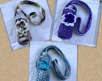Crochet Water Bottle Holder, Water Bottle Tote, Beverage Cozy,