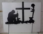 Soldier Praying at Cross 013 with Stakes Metal Yard Art Silhouette