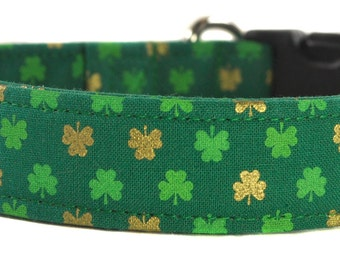 St. Patrick's Day Dog Collar - The Shamrocks in Gold