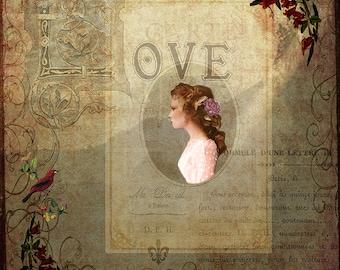Faded Memories- fine art print- mixed media art- collage- montage- vintage style art- home decor- office decor- wall art- gift- romantic art