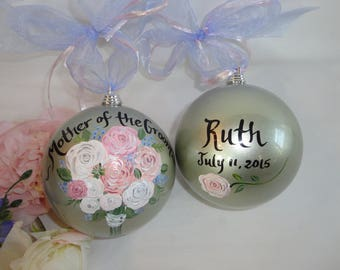Personalized Mother of the Bride Gift, Mother of the Groom & Bridesmaid Ornaments, Bridal Party Ornamnets,  Mother of the Bride Ornament
