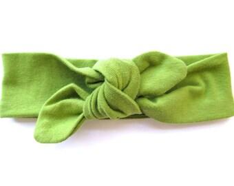 Fern Green Baby Headband - Top Knot Headband - Stretch Headband - Modern Style - Boho Baby - Jungle Botanic Green - Verde - Vert - Lime Leaf