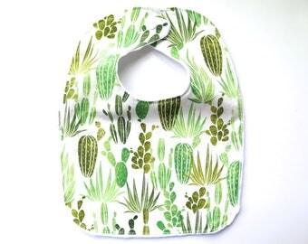 Minky Fabric Bib - Baby Bib - Teething Bib - Cactus Print - Succulents - Saguaro - Southwest Desert - Baby Girl Gift
