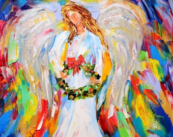 Christmas Angel Print made from image of past oil painting by Karen Tarlton