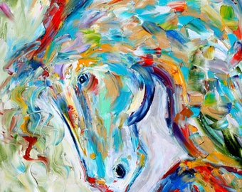 Wild Horse painting original palette knife impressionism on canvas fine art by Karen Tarlton