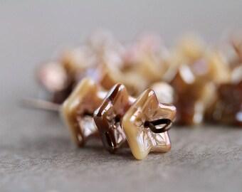 FLOWER glass beads, Czech Glass beads, 5-petal Trumpet Flower beads,  6X9mm, Opaque Beige & Celsian Lustered (12pcs) NEW