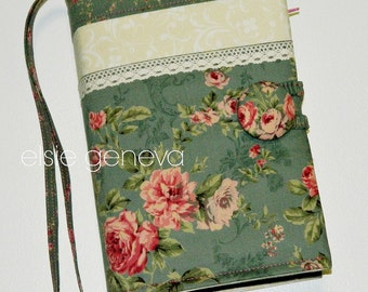 Vintage Bible Journal Cover Made to Fit  Personalized Solid Gray & Pink Japanese  Lace Roses Floral with Sewn in Zipper Pocket