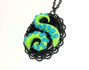 Tentacle cameo necklace. Octopus necklace. green, blue, multi color. Gifts for her. heart necklace
