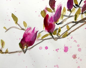 Magnolia Blossoms no. 16 Original Floral Watercolor Painting by Angela Moulton 9 x 12 inch