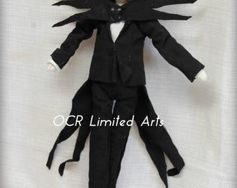 Jack Skellington inspired doll Tuxedo Gothic primitive folk art Doll OOAK Dark  Emo collectable Creepy Cute Nightmare