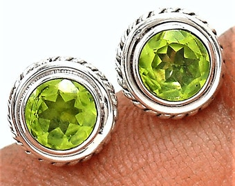 Peridot Stud Earrings Peridot Round Faceted Gemstone Earring Studs in Solid Sterling Silver