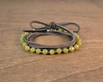 Jade & Leather Wrap Bracelet / Choker / Necklace