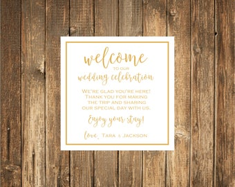 Welcome Bag Wedding Stickers-Welcome to our Wedding Weekend- Welcome Stickers- GOLD FOIL Stickers