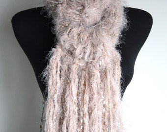 Soft Bunny Light Beige Color Knitted Long Soft Fuzzy Scarf  Fringes