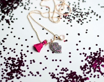 Glittered lip pendant with hot ponk tassel and light pink crystal charm. Girls Valentine's Day necklace.