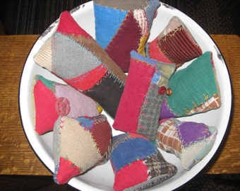 Quilting Gifts Antique Quilt Pincushions Lot of 9 Feather Stitching Quilters Club Gifts Crazy Quilt