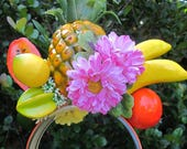 Tropical Fruit - Pineapple-bananas-papaya-orange-lemos  -star fruits  yellow and pink flowers - Headband - Carmen Miranda style -