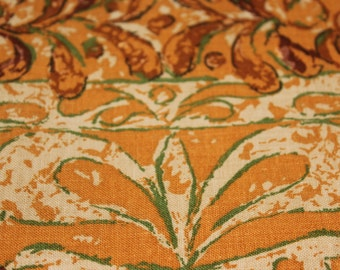 Retro Tablecloth Fabric Heavy Cotton 86 x 50 inches  Gold Green Brown Bittersweet Ivory