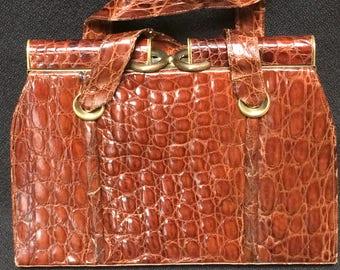 SLEEK Vintage 1950s Alligator Handbag Purse Chocolate Brown