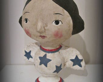 Patriotic angel  Folk Art - Americana patriotic paper mache doll Primitive OOAK