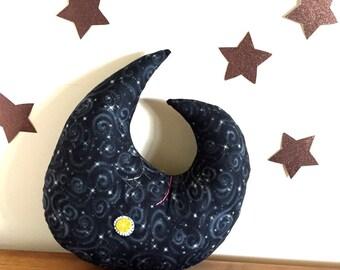 moon pillow, moon decor, moon plush, stuffed moon, crescent moon, stars, luna, 100% natural cotton, new moon