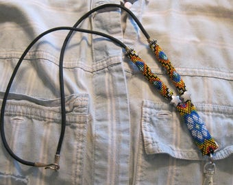 Handmade Beaded Lanyard in Oranges, Reds and Blues