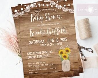Sunflower Baby Shower Invite, Rustic Baby Shower Invite, Sunflower Mason Jar Invite, Printable Baby Shower, Sunflower Invite, jadorepaperie