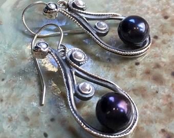 Black Pearl earrings, Sterling silver earrings, long silver earrings, dangle earrings, white pearl earrings, simple - Magic Of Love - E8052