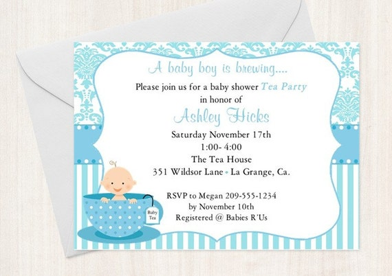 Baby shower tea party invitation baby sprinkle blue set of 10 il570xn filmwisefo