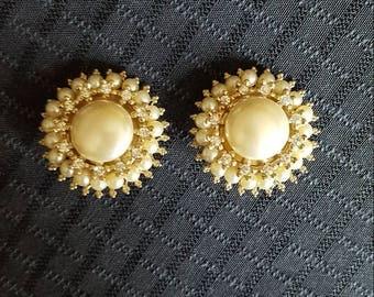 Vintage Regal Pearl and Sparkle Detail Earrings