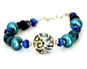 Midnight Blue Lampwork Glass Bead Bracelet. Teal Bead Bracelet. Boho Tribal Jewelry. Artisan Scroll Bead. Gifts for Her. Lampwork Jewelry.
