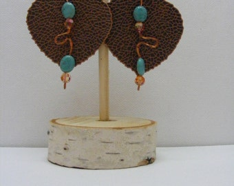 Copper Leaves with Turquoise & Swarovski Crystals